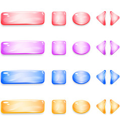 Shiny glass buttons of different shapes for games vector image vector image