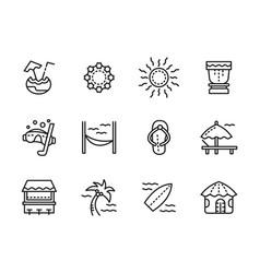 beach leisure black line icons set vector image