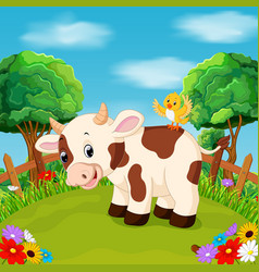 cartoon happy cow smile in the farm vector image
