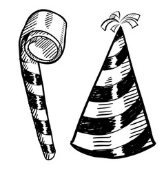 doodle party hat blower vector image vector image