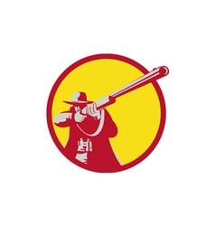 Hunter Aiming Shotgun Rifle Circle Retro vector image vector image