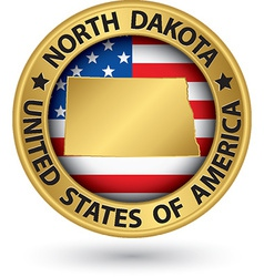 North Dakota state gold label with state map vector image