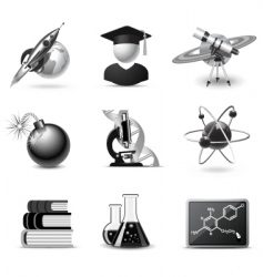 science icons bw series vector image vector image