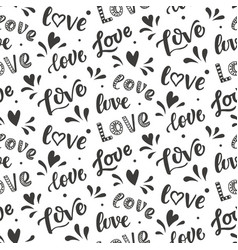 seamless pattern with hand drawn love lettering vector image vector image