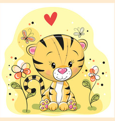 tiger with flowers and butterflies vector image vector image