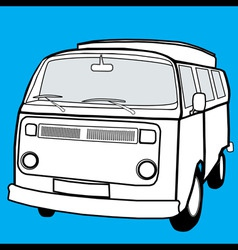 black and white campervan vector image vector image