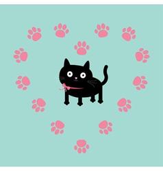 Cat inside paw print heart frame Flat design vector image vector image