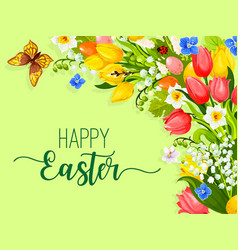easter paschal flowers wreath eggs greeting vector image