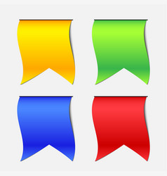 four color hang down ribbon banner vector image vector image
