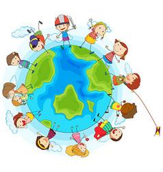Lots of children around the world vector image