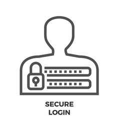 Secure login line icon vector