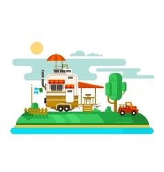 Vacation trailer flat design vector image