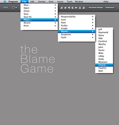A blame game is played in this computer interface vector