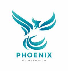Abstract phoenix logo design vector