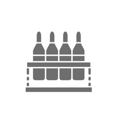 Ampoules with medication vaccine grey icon vector
