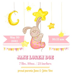 baby girl arrival card - with bunny and stars vector image