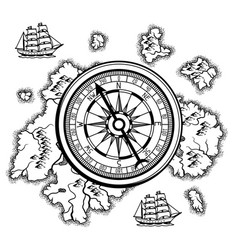 Background with old nautical map vector
