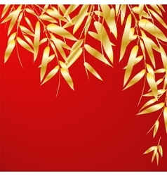 Bamboo branches on red background vector image