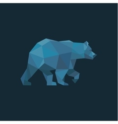 Bear in low poly Blue polygons with trend style vector image