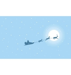 Beautiful landscape train santa on the sky vector image