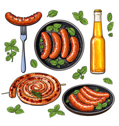 Beer and sausages big set of barbeque party food vector