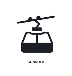 Black gondola isolated icon simple element from vector
