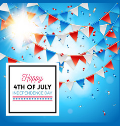 bright sun on a 4th july independence day card vector image