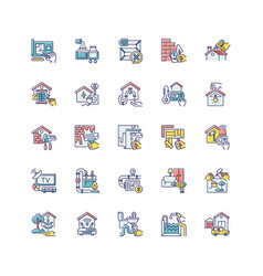 Building and repair house rgb color icons set vector