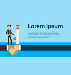 businessman in business suit shaking hands arabic vector image