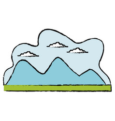 Cartoon mountain meadow cloud landscape vector