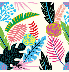 cartoon tropical flowers and leaves seamless vector image