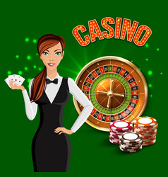 casino realistic green composition vector image