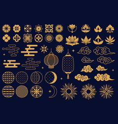 chinese elements asian new year gold decorative vector image