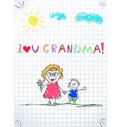 Colorful pencil hand drawn of grandmother and vector