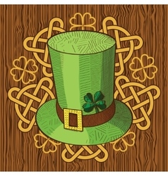 Colorful St Patricks Day hat with clover and vector