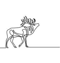 Continuous one line howling elk vector