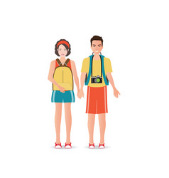 couple travelers with luggage on white background vector image