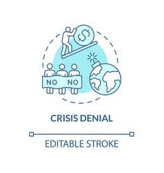 Crisis denial blue concept icon vector