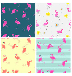cute seamless flamingo pattern collection set vector image