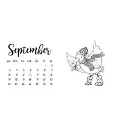 Desk calendar template for month September vector
