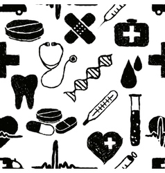 doodle medical seamless pattern vector image