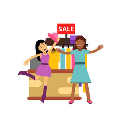 female friends shopping at the clothing store vector image