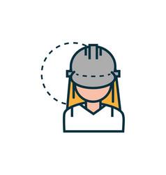 female worker with helmet work tools engineering vector image