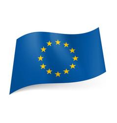 Flag of europe circle of twelve golden stars on vector