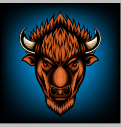 Front view american bison buffalo vector