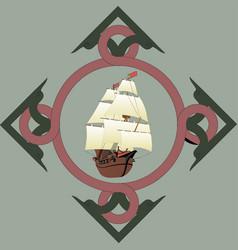 galleon in art nouveau frame vector image