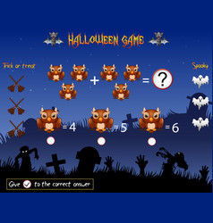 Game count the owl in the halloween theme vector
