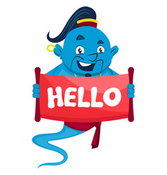 genie with hello sign on white background vector image