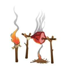 Ham roasted on fire and torch food vector