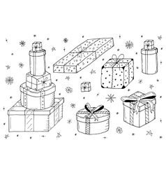 Hand drawn gift boxesChristmas gifts vector
